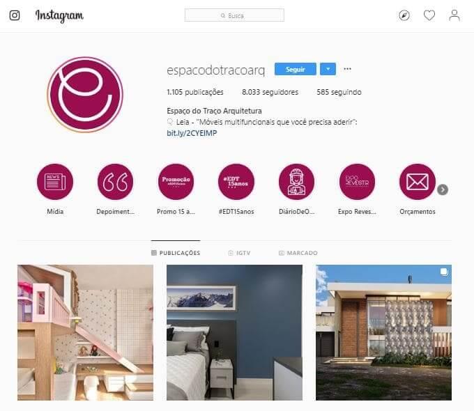 Como ganhar seguidores no Instagram: exemplo de destaques personalizados (@espacodotracoarq)