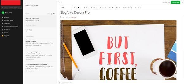 Como usar Evernote: criação de nota com texto e imagem
