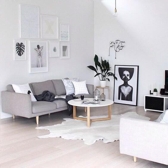 Cores primárias: decoração com cores neutras (branco e cinza)