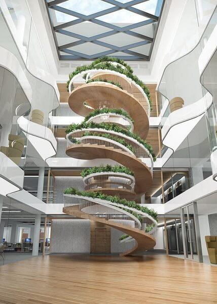 Escada Helicoidal com guarda-corpo decorado com paisagismo