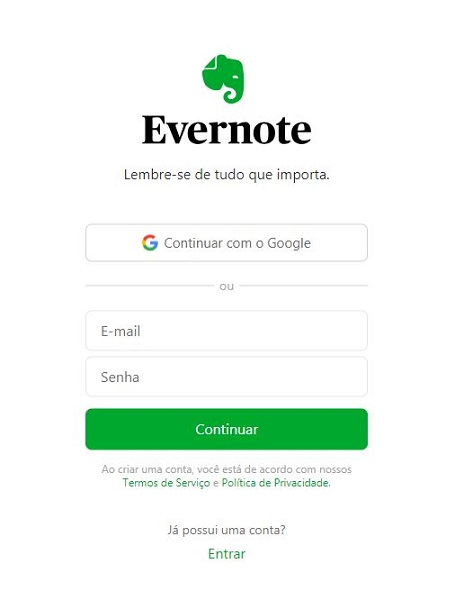 Evernote: login