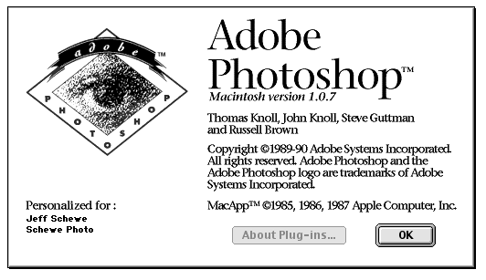 Photoshop: tela inicial do Photoshop 1.0
