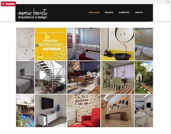 Wix: Exemplo de portfólio de design de interiores (Márcio Barreto arquitetura e design)