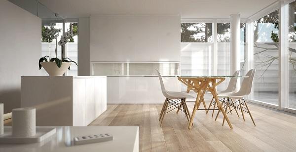 Minimalismo: mesa com apoio de madeira