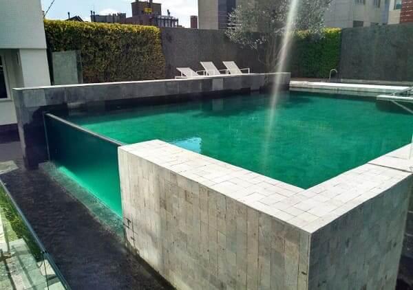Piscina de Vidro com fundo verde combina com natureza (foto: tudo sobre piscinas)