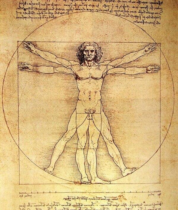 Simetria: Homem de Vitruvio (Leonardo da Vinci)
