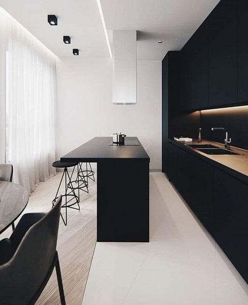 Minimalismo: cozinha minimalista com spot de sobrepor