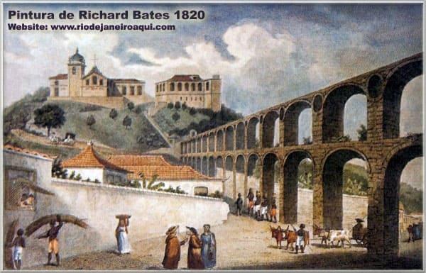 Desenhos dos Arcos da Lapa: Convento de Santa Teresa ao fundo
