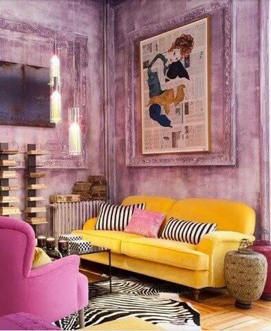 Círculo Cromático: sala roxa e amarela