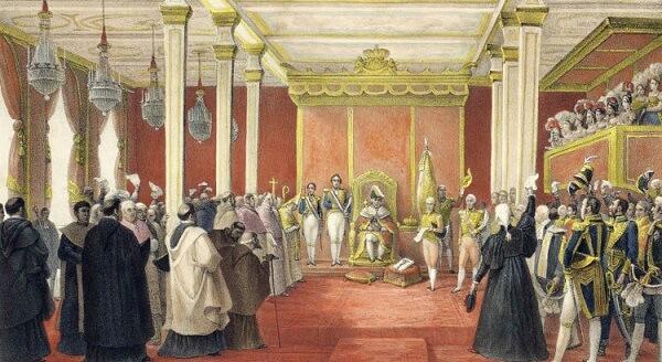 Madeira de lei: pintura da chegada da família Real Portuguesa no Brasil