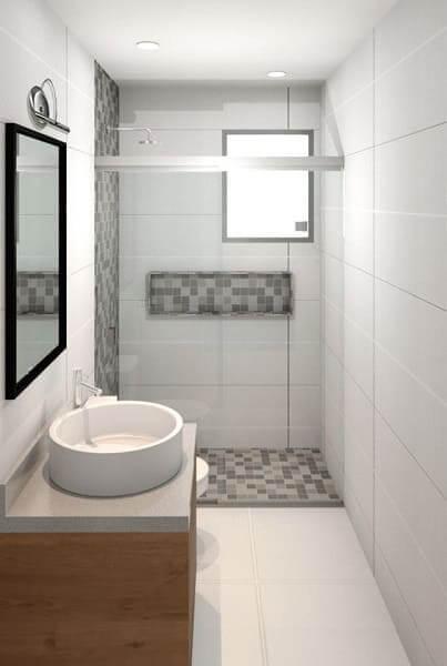 Porcelanato branco acetinado no banheiro