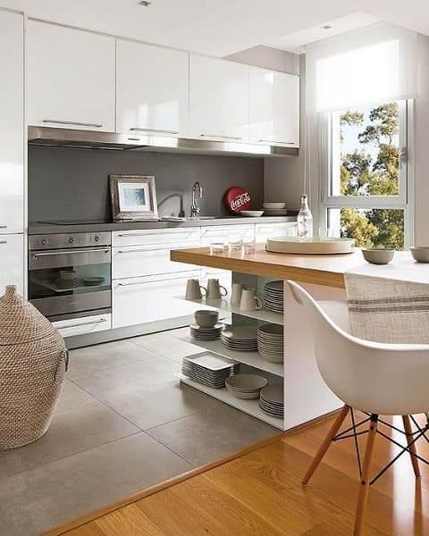 Porcelanato para cozinha: piso em ambiente integrado