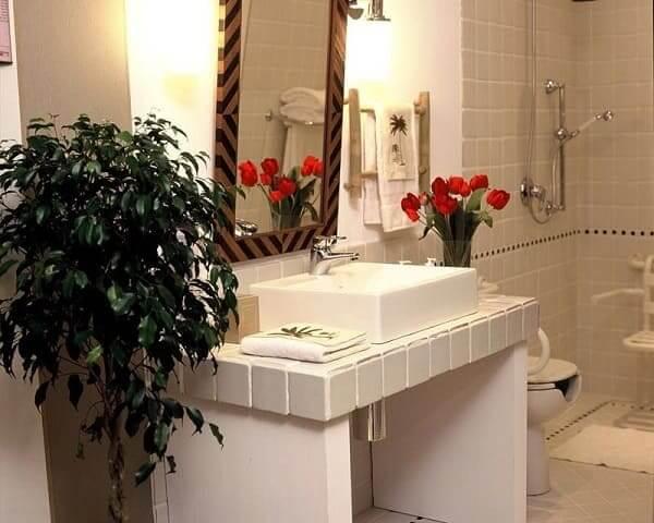Banheiro acessível: bancada grande sem armário embaixo e plantas na decoração (Projeto: Ana Luisa Previde)