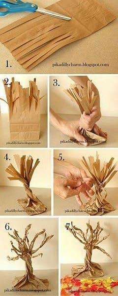 Como fazer árvore para maquete: tronco com saco de papel