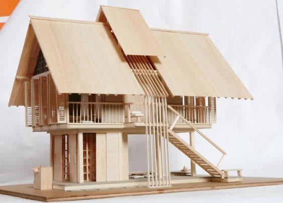 Como fazer uma maquete: maquete de madeira de casa no campo