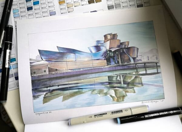 Desenhos de arquitetura: Guggenheim Museum Bilbao (@aaartpage)