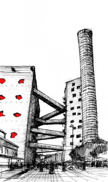 Desenhos de arquitetura: Sesc Pompeia (Fabrício Contreras Ansbergs)