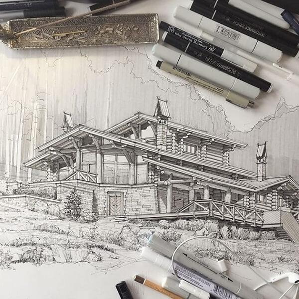 Desenhos de arquitetura: casa em preto e branco (@allofsketches)