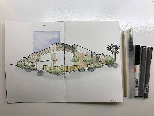 Desenhos de arquitetura: casa moderna desenhada com perspectiva (@afk_architecture)