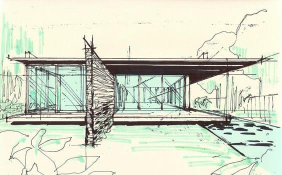 Desenhos de arquitetura: croqui de casa no bosque (Projeto: Cornetta Arquitetura)