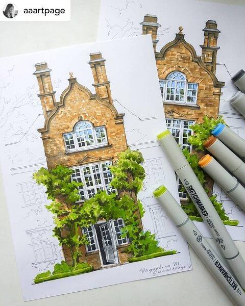 Desenhos de arquitetura: desenho de fachada (@aaartpage)
