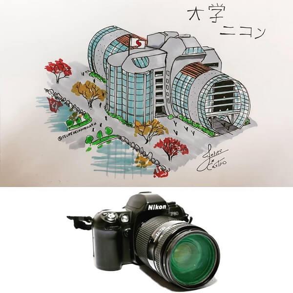 Desenhos de arquitetura: reeleitura de máquina fotográfica (@felipedecastro arq)
