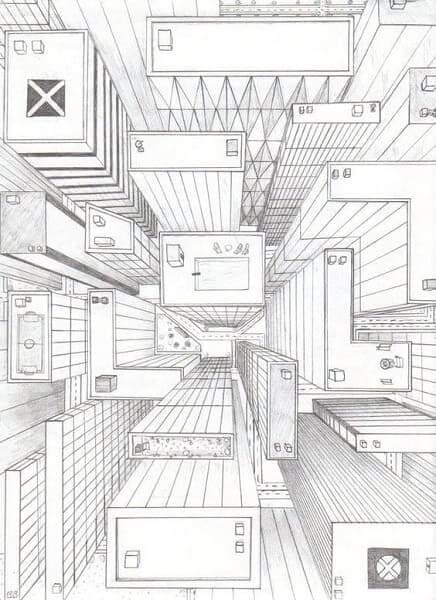 Desenhos de arquitetura: perspectiva cônica com um ponto de fuga