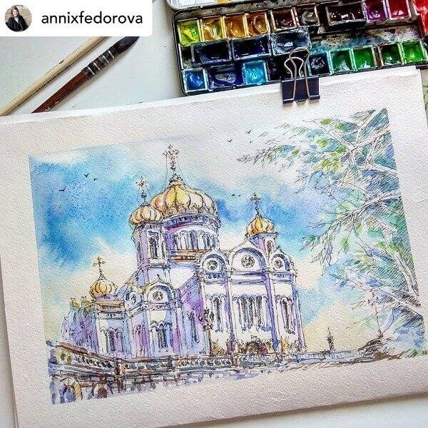 Desenhos de arquitetura: desenho de igreja pintado com tinta (@archiholicdrawings)
