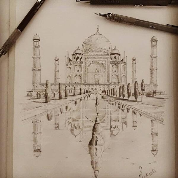 Desenhos de arquitetura: Taj Mahal desenhado com lapiseira (@felipedecastro.arq)