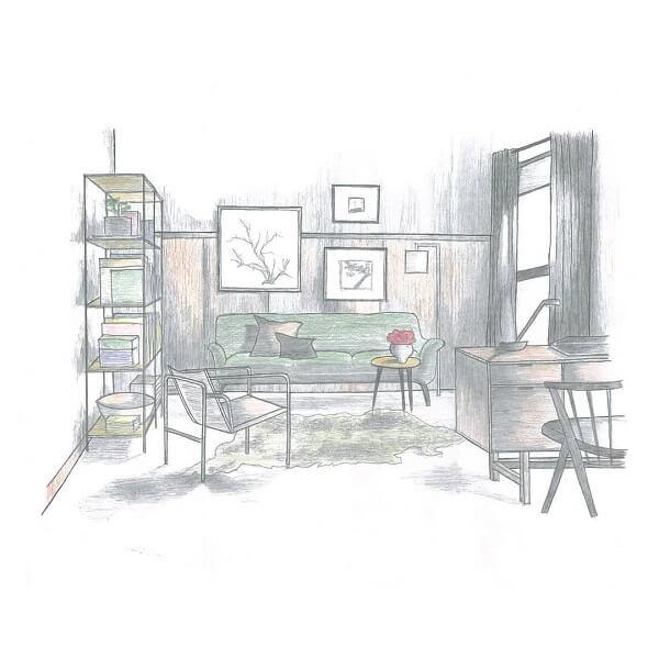 Desenhos de arquitetura: sala desenhada com tons pastéis (@kenan_kirandi)