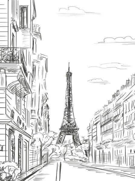 Desenhos de arquitetura: Torre Eiffel desenhada à lápis