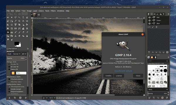 Editor de fotos profissional: interface do GIMP