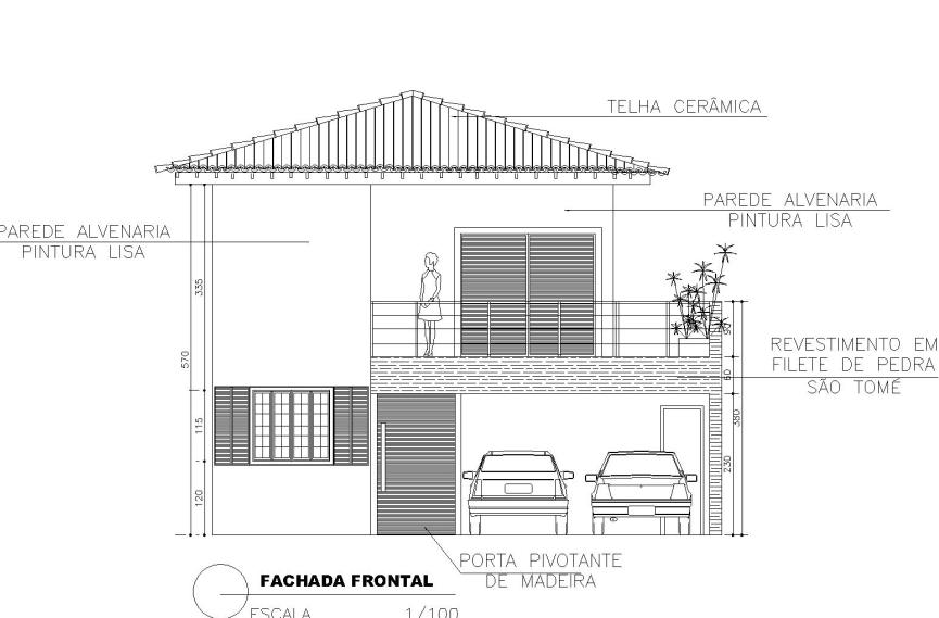 Fachadas de Casas Térreas: Planta de Fachada Frontal detalhada (Projeto: Danielle D Oliveira)