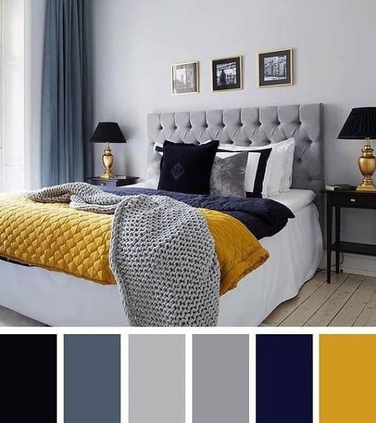 Paleta de cores amarelo e azul: destaque fica na colcha e abajures