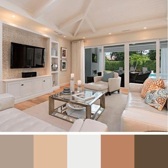 Paleta de cores: tons neutros na sala de estar sempre agrada os clientes