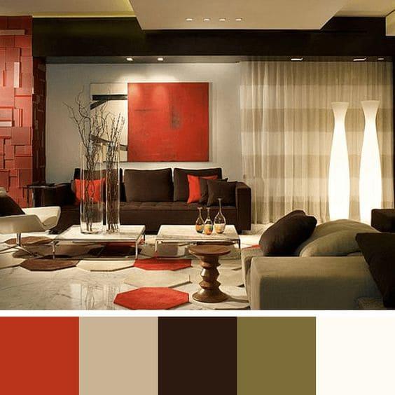Paleta de cores para sala: tons escuros deixa ambiente sóbrio e elegante