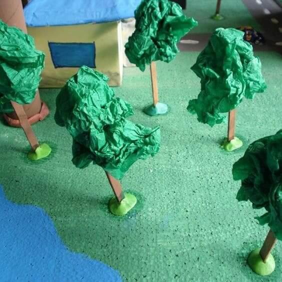 Como fazer árvore para maquete: árvore com crepom