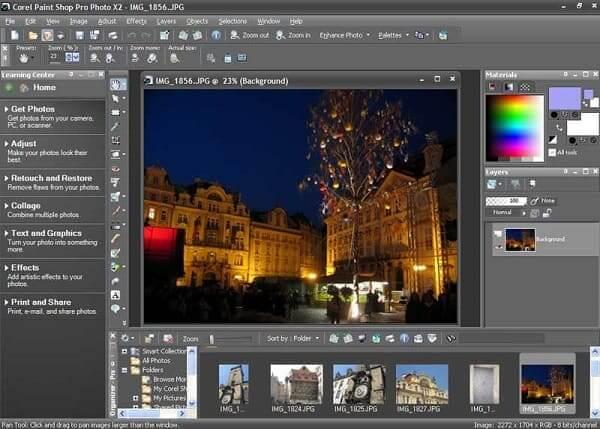 Editor de fotos profissional: Interface do Corel PaintShop Pro