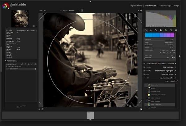 Editor de fotos profissional: interface do Darktable