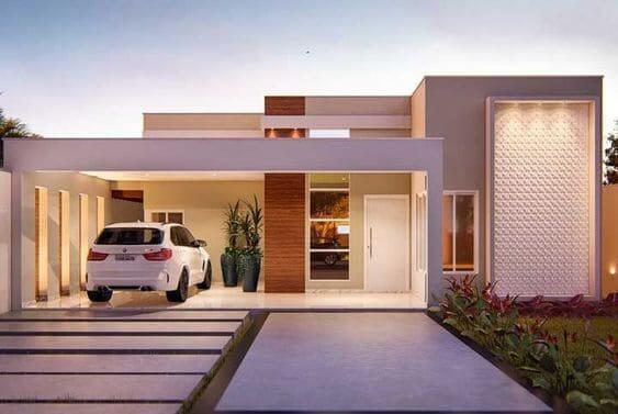 Fachadas de casas térreas com garagem na frente: pilastras ajudam no aproveitamento do espaço