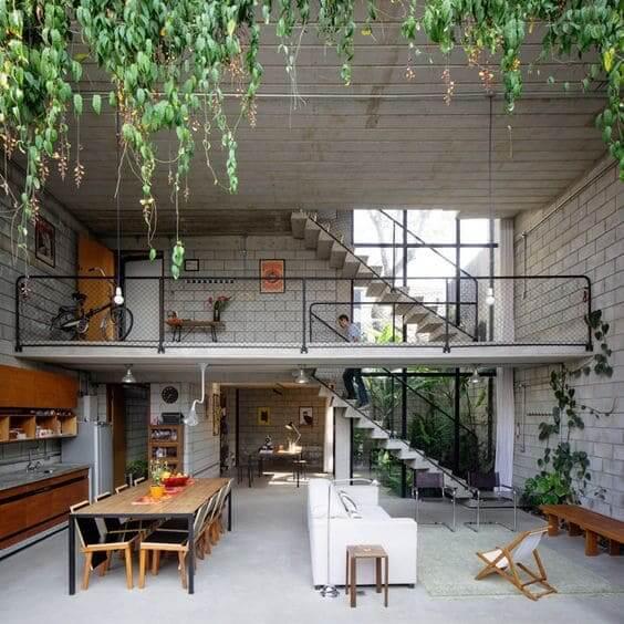 Tipos de tijolos: casa de dois andares com tijolo de concreto