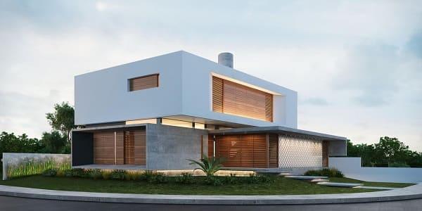 Casa quadrada: fachada branca com madeira (projeto: Martins Lucena)