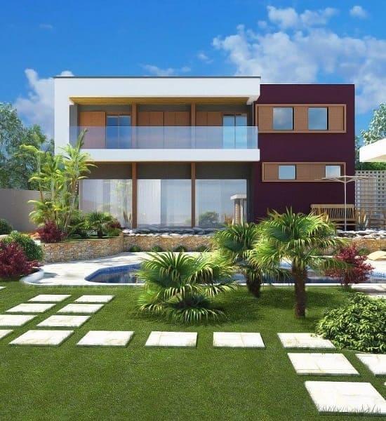 Casa quadrada: fachada com tom avermelhado e branco (projeto: Letícia Viner)