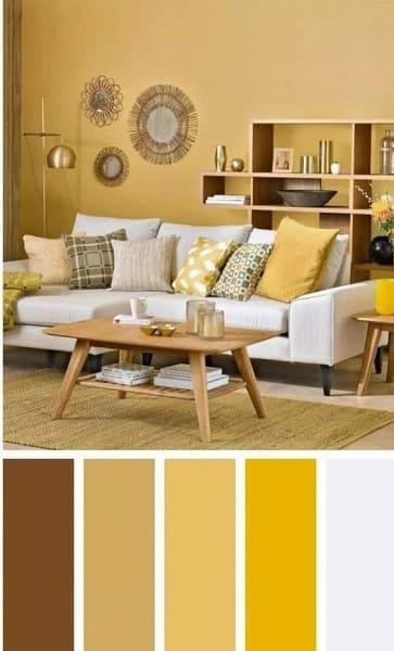 Mistura de cores: paleta de cores com tons amarelos na sala de estar