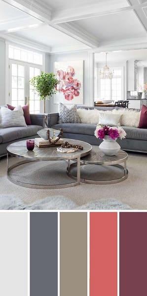 Mistura de cores: paleta de cores com tons avermelhados e neutros