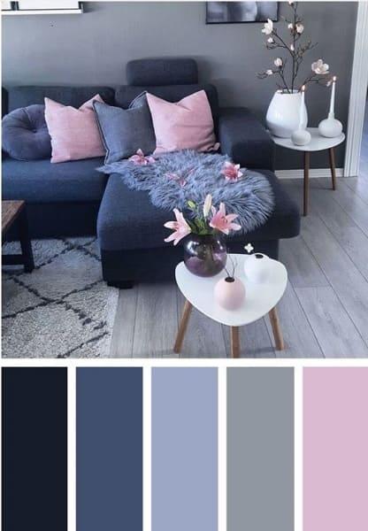 Mistura de cores: paleta de cores com tons de azul, bege e rosa