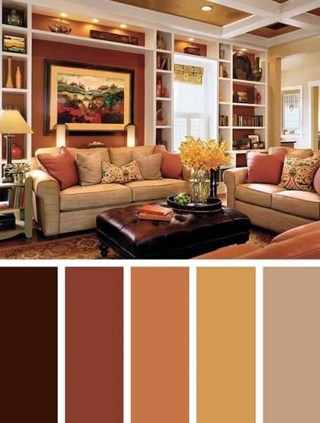 Mistura de cores: paleta de cores com tons terrosos na sala de estar