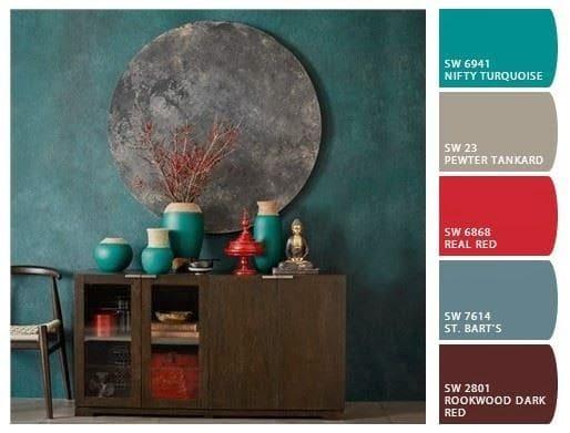 Mistura de cores: paleta de cores complementares (vermelho e verde)