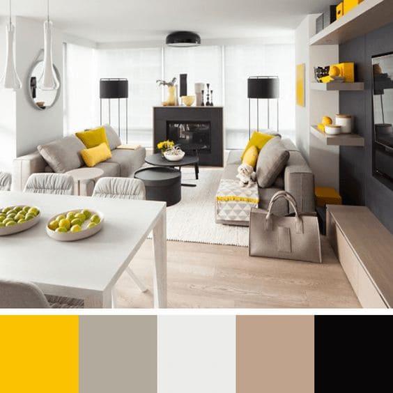 Mistura de cores: paleta de cores de tons neutros e amarelo para sala de estar