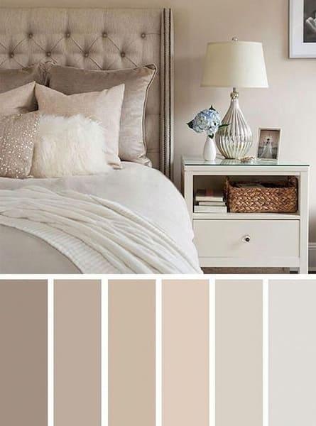 Mistura de cores: paleta de cores neutras e claras para o quarto
